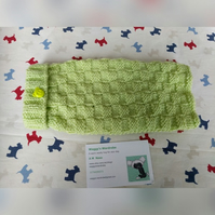 Extra small dog jumper in Lime green wool with a teddy bear button