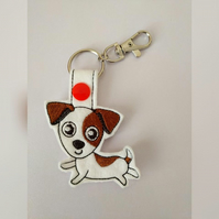 Jack Russell keyring, Jack Russell dog bag charm, Jack Russell gifts