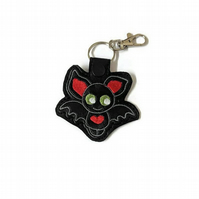 Halloween bat keyring made from black leatherette, Kawaii bat bag charm, Hallowe