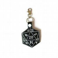 D20 Keyring, Critical hit keyring, D20 Keychain, Dungeons and Dragons dice, dice