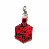 D20 Keyring, Critical hit keyring, D20 Keychain, Dungeons and Dragons dice,