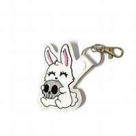 Halloween keyring killer rabbit with skull Halloween rabbit bag charm