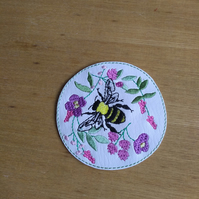 Bees coaster, bees and flowers coasters made from wipe clean faux leather