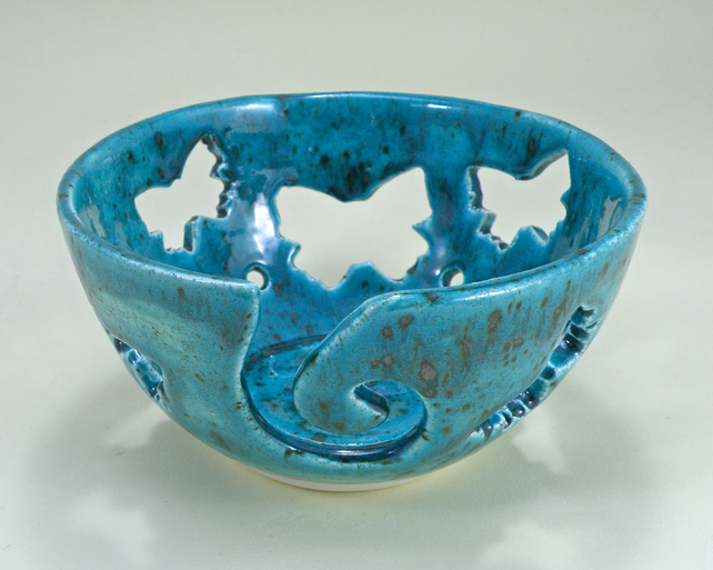 Large Yarn Bowl Knitting Bowl Crochet Bowl Butterfly Design