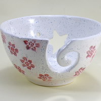 Large Knitting Bowl flower Crochet Bowl Lead free Glaze large Yarn Bowl