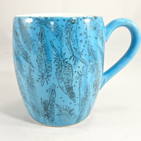 feather design handmade coffee mug  Tea mug Food safe Lead free glaze