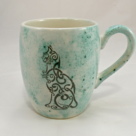 Celtic cat design handmade coffee mug  Tea mug Food safe Lead free glaze