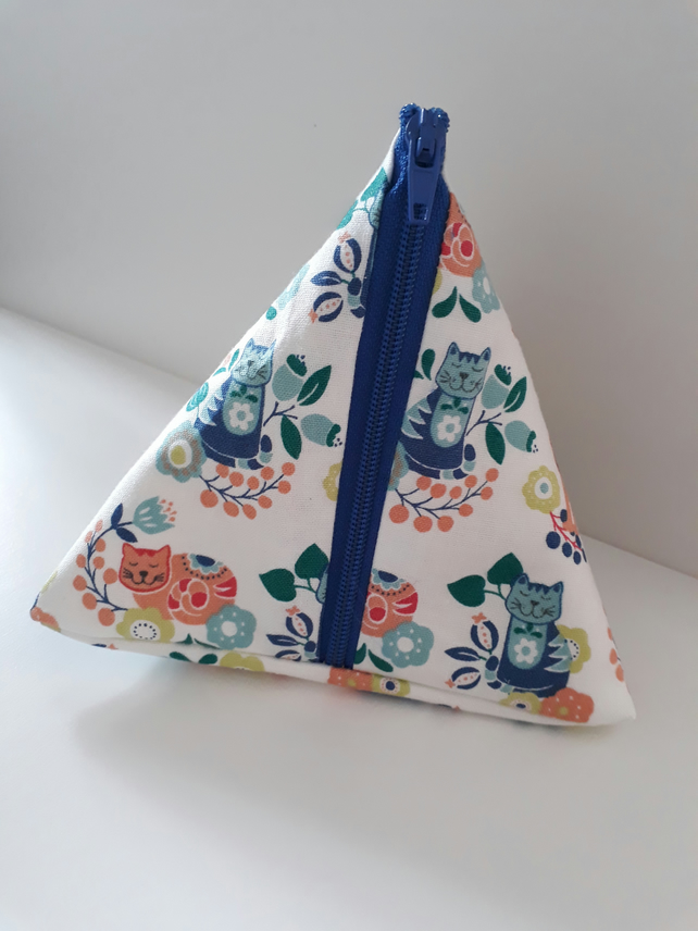 Handmade cat print cotton coin purse