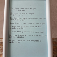 New baby boy framed poem