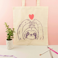 Sloth & Heart Tote Bag