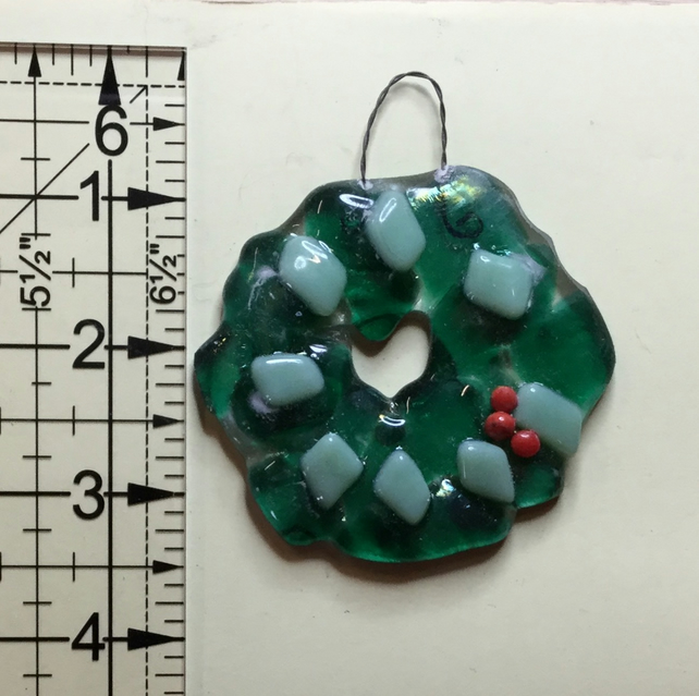 Fused glass Christmas wreath Hanging ornament