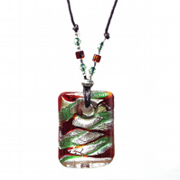 Silver Oblong murano glass pendant necklace