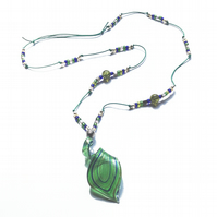Green Glass spiral pendant necklace
