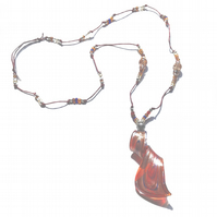 Orange glass pendant beaded necklace, Murano spiral pendant