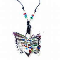 Butterfly Glass Pendant Necklace