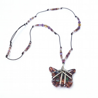 Purple Butterfly Glass pendant necklace with silver straps