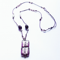 Purple Murano Glass Silver Foiled Cube Drop Pendant on a Beaded Necklace