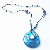 Turquoise Blue Murano Glass Teardrop Pendant on a leather beaded necklace