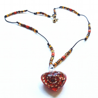 Orange Murano Glass Heart Pendant on a Beaded Leather Necklace