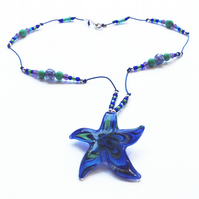 Blue green purple Starfish Murano Glass Star Pendant, on beaded leather necklace