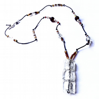 Fire and Ice, Red and Silver Cube  Glass Pendant Beaded Necklace