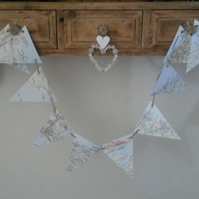Recycled Book Page Banner, Paper Bunting, Map Pages Bunting, British Coast