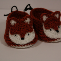 0-3 months crochet fox booties