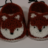 3-6 months crochet fox booties