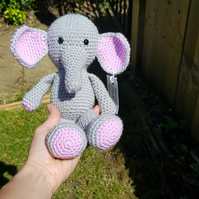 Crochet Grey and Purple Elephant Soft Toy
