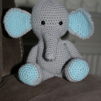 Crochet Grey and Blue Elephant Soft Toy