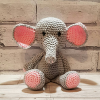 Crochet Grey and Pink Elephant Soft Toy