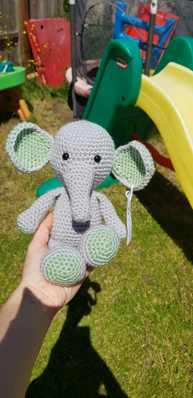 Grey and Green Elephant crochet Soft Toy