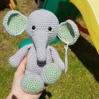 Crochet Grey and Green Elephant Soft Toy