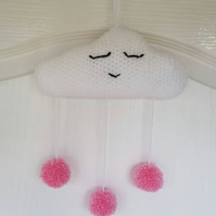 Cloud Decoration with pink pom poms