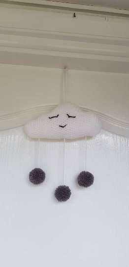 Hanging Cloud decoration with grey pom poms