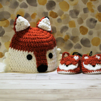 3-6 months fox hat and booties set