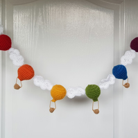 Crochet rainbow hot air balloon garland
