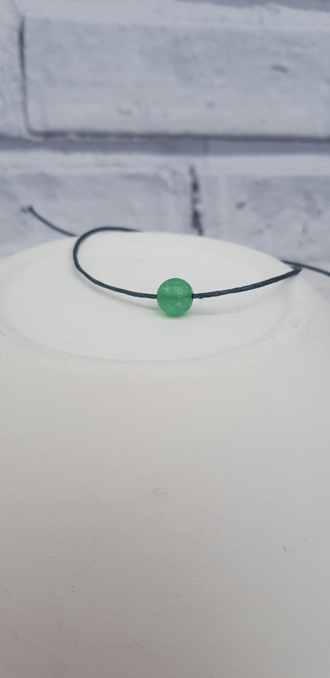 Green jade and cotton adjustable bracelet