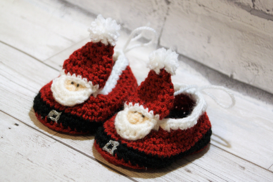 0-3 months Santa Crochet Shoes