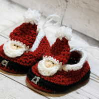 3-6 months Santa Crochet Shoes