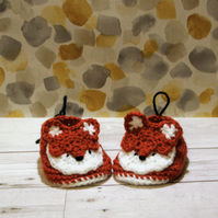 Crochet Fox Newborn Shoes