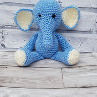 Crochet Blue and Cream Elephant Soft Toy