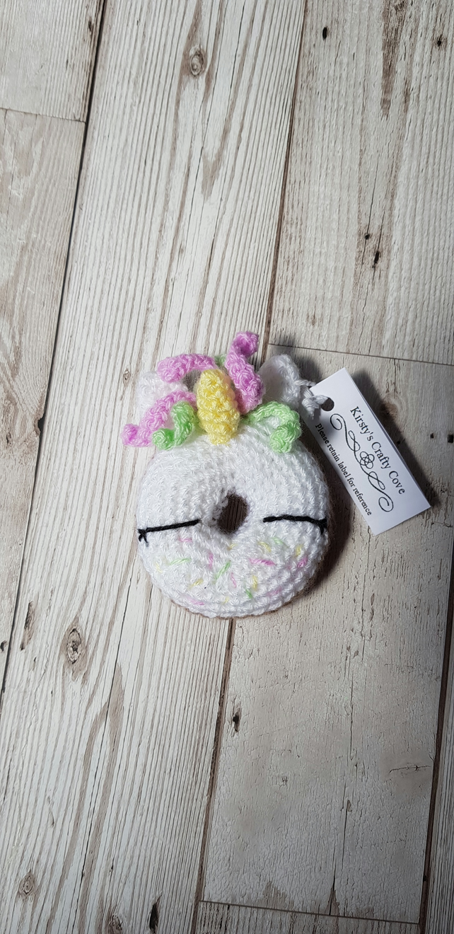 Unicorn doughnut crochet soft toy