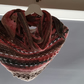 Pink, brown and grey crochet triangle scarf