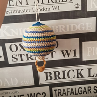 Striped crochet hot air balloon ceiling mobile