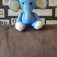 Blue and Cream Elephant Crochet Soft Toy