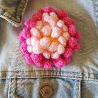 Crochet pink flower brooch
