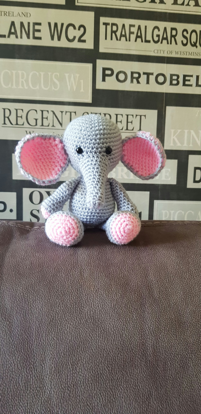 Grey and Pink Elephant crochet Soft Toy