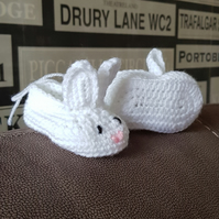 White bunny crochet booties 0-3 months