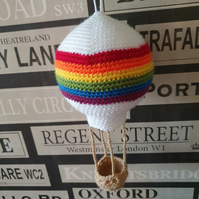 Rainbow crochet hot air balloon ceiling mobile